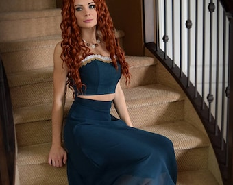 Merida (Brave) inspired Formal/Prom/Bridesmaid Dress with Custom Jewelry