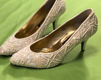Vintage Flings Embellished Cream Heels