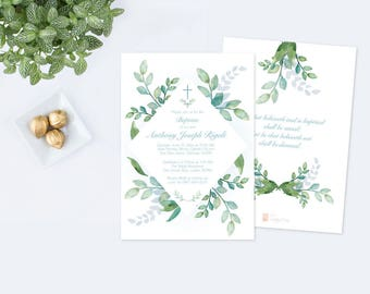 Boys Baptism Invitation, Greenery Baptism Invitation, Boys Baptism, DIY Invite, Editable Template Invitation, Blue Watercolor Botanical Leaf