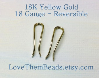 18K Gold Ear Crawler Climber White Rose Yellow Gold Curved Line Sleeper Earrings 18 gauge Reversible Two Sided Mixed Metal Two Tone Earrings