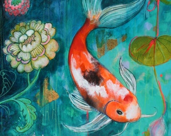 Koi In The Flower garden ACEO  Open edition reproduction by Maria Pace-Wynters