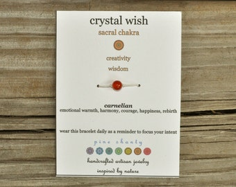 Chakra Wish Bracelet, Carnelian, Sacral Chakra, Hemp, Crystal Healing, Meditation Bracelet, Yoga Bracelet, Intent, Enlightenment