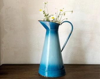 Vintage French Enamel Pitcher Jug Vase / Antique french jug / antique pitcher / antique ceramic jug / french rustic metal jug