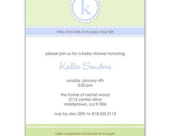 Digital File - Baby Shower Invitation //you can change the colors// Kallie design