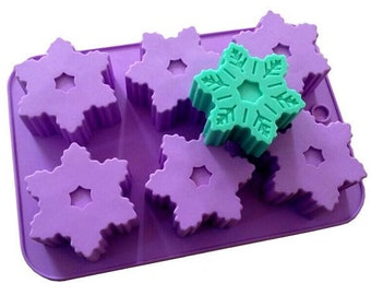 6-Snowflake Cake Mold Soap Mold Flexible Silicone Candle Candy Chocolate Cake Fimo Resin Crafts