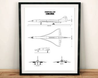 "Concorde Blueprint, Concorde, Blueprint Art, Concorde Decor, Instant Download, Concorde Wall Art, Printable Art, Aviation Art, 8x10"", 11x14"""