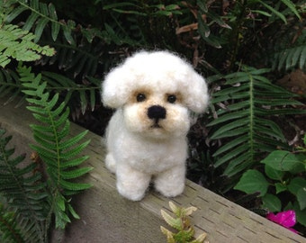 Needle felted miniature puppy