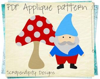Gnome Applique Pattern -  Mushroom Applique Template / Secret Garden Applique Quilt Pattern / Kids Gnome Party / Birthday Printable AP265-D