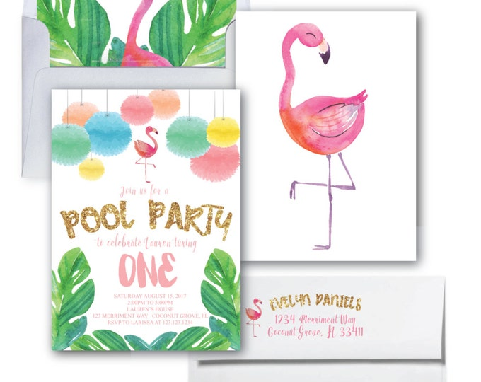 Pool Party Flamingo Birthday Invitation// Flamingo //Gold Glitter // Flamingo Invitation // Watercolor // One // COCONUT GROVE COLLECTION