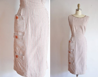50s Layered Coffee dress/ vintage 1950s cotton dress/ vintage striped dress