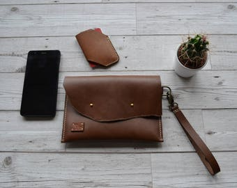 Men leather clutch / Wrist bag / Leather hand bag / Leather Clutch Purse