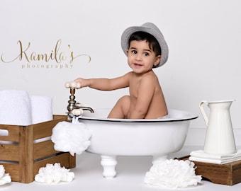 Photography Prop Baby Girl Or Boy Bathtub Baby Toddlers Children Vintage  Prop Bath Tub