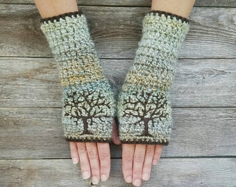 Tree Arm Warmers Tree Fingerless Gloves Tree of Life Armwarmers Winter Gloves Texting Gloves Womens Gloves Tree Arm Warmers - MADE TO ORDER