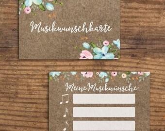 50 music card for wedding or birthday