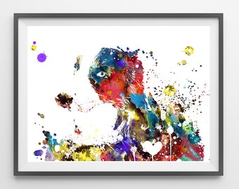 Border Collie Dog watercolor print border collie poster border collie dog breed illustration border collie wall art giclee print  [540]