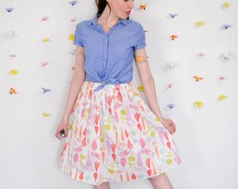 Root Vegetable Print Midi Skirt in White, Pink, Orange, Blue & Green / Vegetarian Skirt
