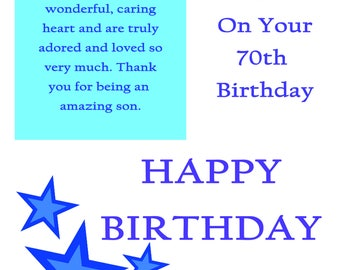 Son 70 Birthday Card with removable laminate