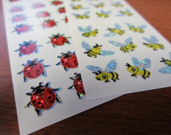 Lot of 2 Vintage Sandylion Sparkle Bumble Bee and Ladybug Stickers