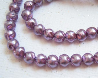Czech lilac 4mm baroque glass pearls, bead lot of (100) - BN167