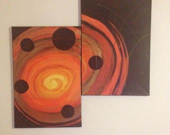 "Art and painting abstract painting diptych ""Spiral Solaris"" design"