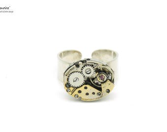 Ring mechanism of vintage Watch in silver 925 (adjustable base) #40