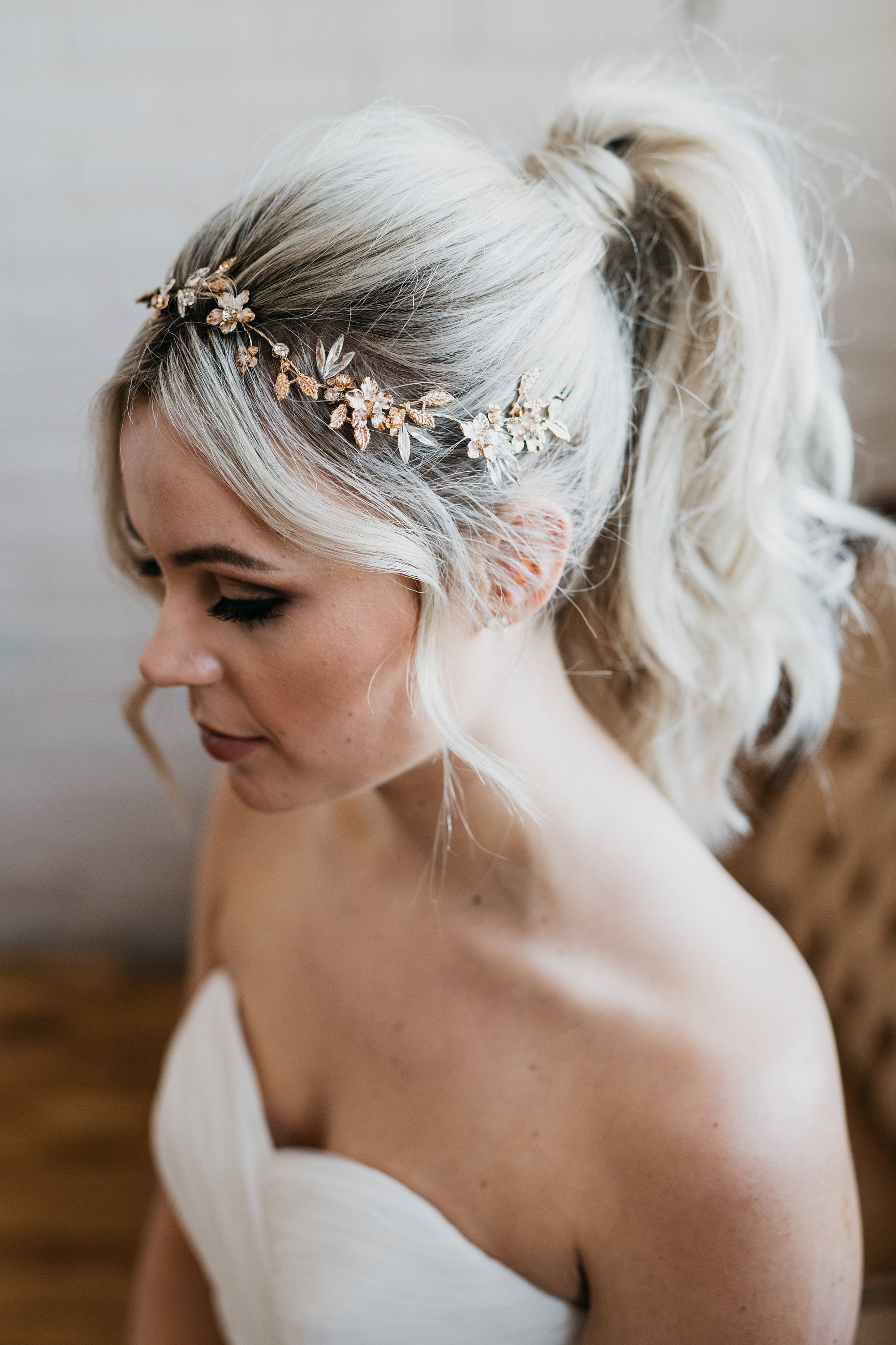 gold flower bridal hair vine wedding gold flower crown