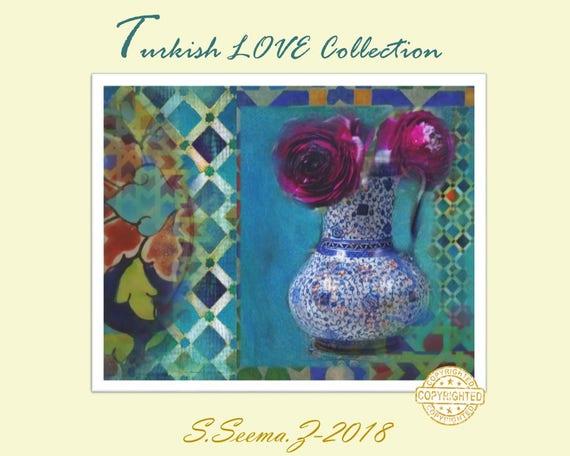 TURKISH FLORAL - 8x10, Turkish Wall Art,Canvas, Flower Vase, Rose, Giclee Paper Print, Blue, Exotic, Ethnic Wall Art, Seema Z