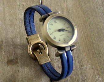 Blue, Bronze, 10MM magnetic Bronze clasp dial wristwatch