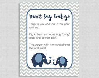 Don't Say Baby Shower Game Sign, Navy Elephant Baby Shower Game, Diaper Pin Game, Grey Chevron, DIY Printable, INSTANT DOWNLOAD