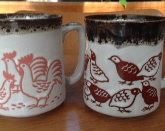 Pair Earthy Vintage Retro Pottery Mugs Japan Quail Chickens Retro