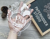Custom Papercut Heart, Handcut Celebration Paper Art, Wedding Gift, Anniversary Gift, Personalized Gift, Wall Art, Home Decor