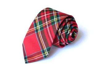 Tartan Plaid Mens Necktie~Cotton Necktie~Anniversary Gift~Wedding Tie~Red Necktie~Mens Gift~Skinny Tie~Winter Wedding~