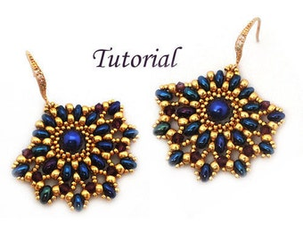 Tutorial Ladies Fan Earrings - Beading pattern with Twin beads
