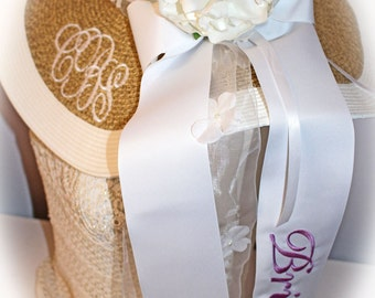 Monogrammed Bridal Bride Wedding Floppy Wide Brim Hat, Monogrammed Bride Ribbon, Kentucky Derby Theme,  Rhinestone Flower, Long Ribbon Tails