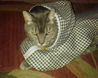 Cape with a hood for a small dog or a cat