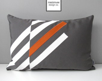 Orange & Grey Outdoor Pillow Cover, Geometric Pillow Cover, Decorative Mid Century Modern Sunbrella Cushion Cover, Gray and White, Mazizmuse