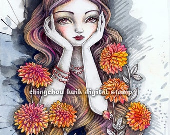 Dahlia - PRINTABLE Digital Stamp Instant Download / Flower Fairy Portrait Lady Girl Fantasy Line Art by Ching-Chou Kuik