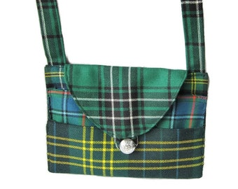 Fitzpatrick, Dyce, Maclean, MacInnes, Green Plaid bag made from Scottish tartan, ready to ship