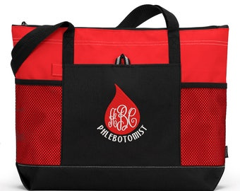 Phlebotomist Blood Drop Monogrammed Embroidered Zippered Tote Bag With Mesh Pockets, Beach Bag, Boating