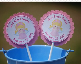 Kneeling Angel Girl Pink Baptism Christening First Holy Communion Cupcake Toppers - Set of 12 Personalized Religous Celebration Decorations
