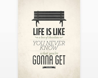 Forrest Gump Poster, Life Is Like A Box of Chocolates, Rustic Art, Quote About Life, Inspirational Quotes, Life Quote Print, Movie Quotes