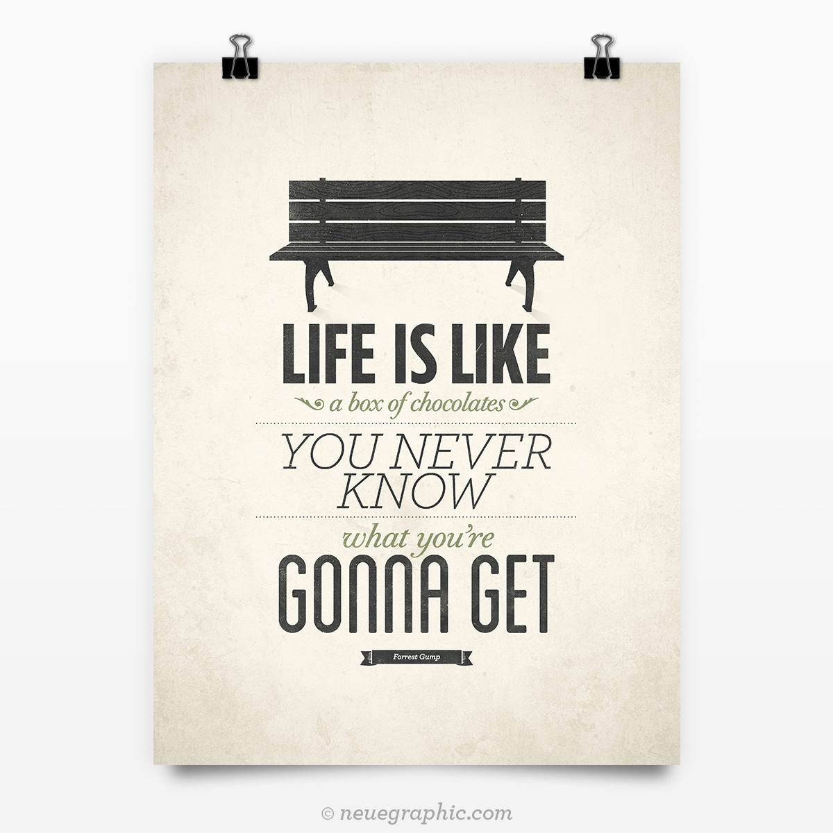 Life Quote Poster Forrest Gump Poster Life Is Like A Box Of Chocolates Rustic