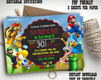 Super Mario Birthday Invitation Chalkboard Super Mario Custom