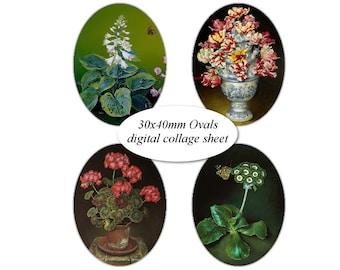 Oval 30 x 40 mm Vintage Floral Flower pot plant Tulip in vase Digital Collage Sheet Images for cabochon