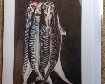 Hanging Mackerel greeting card