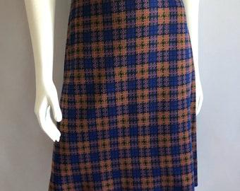 Vintage Women's 70's Madras Plaid, A Line, Skirt (M)