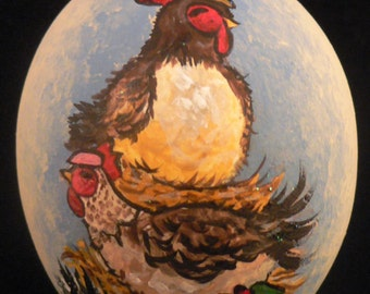Three French Hens, Hand Painted Christmas Ornament
