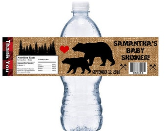 10 GLOSSY Lumberjack Black Bear & Forest Bears Personalized Water Bottle Labels Wrappers Baby Shower Party Favors Custom