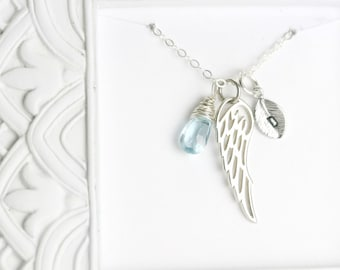 Miscarriage jewelry etsy memorial necklace miscarriage jewelry loss gift silver angel wing necklace bereavement necklace remembrance necklace sympathy gift aloadofball Images