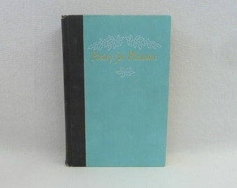1960 Poetry for Pleasure - The Hallmark Book of Poetry - Various Poets - Blue Black Cover w/ Gold - Vintage 1960s Poetry Book